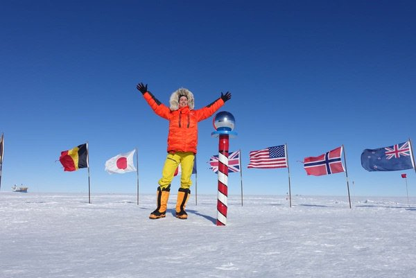 Colin just moments after successfully reaching the South Pole at 1:55 PST on January 10. The clock on the World Record attempt is now ticking!
