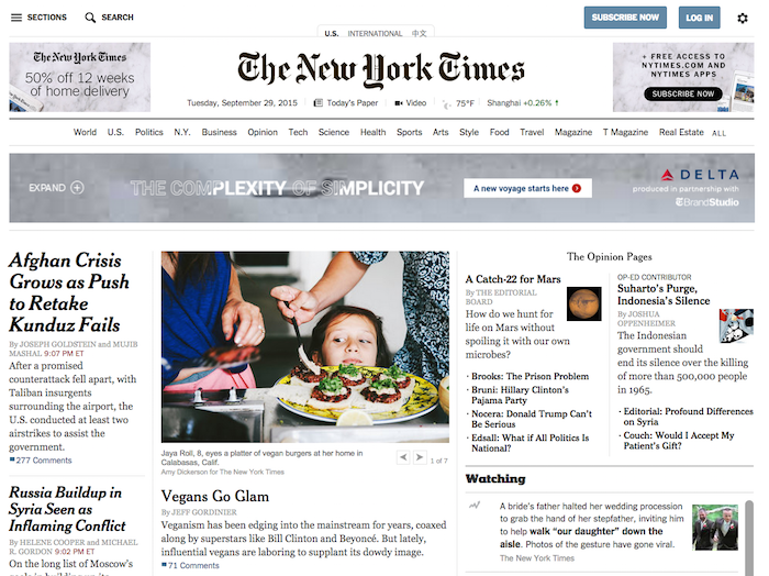 Little Jaya just owning the New York Times homepage lead.